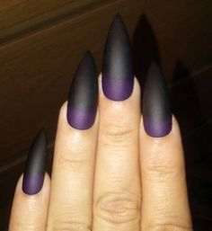 Nails Discover Matte Black & Purple Stiletto Nails Gothic Press on Nails Goth Glue on Nails Acrylic Fake False Nails Coffin Square Long or Short Purple Stiletto Nails, Black And Purple Nails, Purple Ombre Nails, Matte Purple Nails, Black Ombre, Glitter Nails, Long Black Nails, Short Ombre, Black Glitter