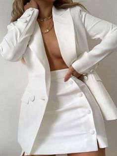White Outfits, Classy Outfits, Trendy Outfits, Summer Outfits, White Heels Outfit, Mode Outfits, Fashion Outfits, Womens Fashion, Dress Fashion