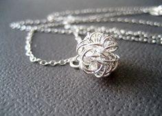 Silver dandelion necklace