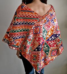 Vintage 70s Mexican Embroidered Poncho
