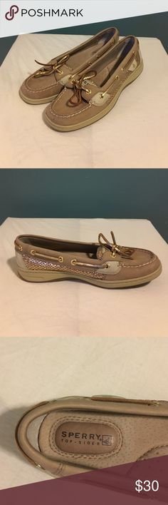 Tan and gold Sperry Top-sider's. Lightly worn, gold flake sides. Very comfortable. Sperry Top-Sider Shoes Flats & Loafers