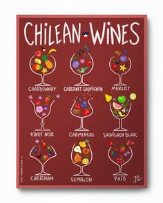 We love food, sometimes we draw it Cabernet Sauvignon, Pinot Noir, Chile Independence Day, Chilean Wine, Chilean Food, Fun Drinks, Alcoholic Drinks, Chile Tours, Chilean Recipes