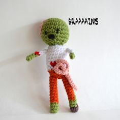 """Zombie Amigurumi Free Pattern PDF file ( click """"Download the PDF here"""" in blue letters at the end of the post)  www.popsdemilk.com/zombie-pattern/"""