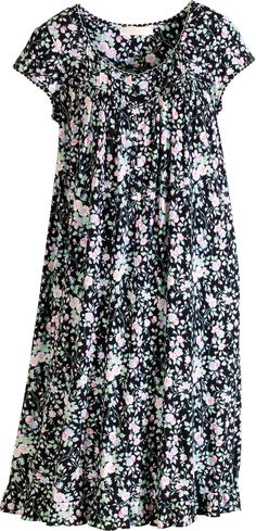 Eileen West modal nightgown with flirty pink blossoms against a black background is sumptuously soft. Nice Dresses, Casual Dresses, Short Sleeve Dresses, Sleepwear Women, Lingerie Sleepwear, Abaya Fashion, Fashion Dresses, Night Dress For Women, Plus Size Maxi