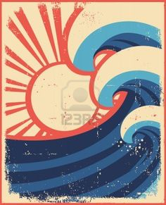 Sea waves poster.Grunge illustration of sea landscape on old paper. Stock Photo