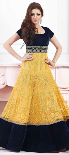 434156: Blue, Yellow color family unstitched Anarkali Suits.