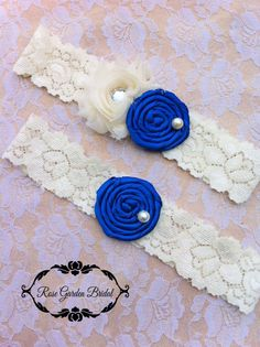2 PC Ivory and ROYAL Wedding Garter Bridal by RoseGardenBridal, $17.99