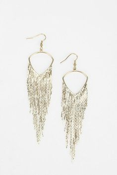 Hanging Chains Earring | Urban Outfitters #jewelry #chain #silver #earrings #prom