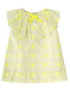 Little girls dress in voile coton with neon emboidery - Meisjesjurkje in voile katoen met neon broderie