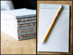 Make your own notepads! All that looseleaf notebook paper i have laying around with cardboard and scrapbook paper!