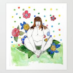 In the garden Art Print by Melina Martín  - $17.00
