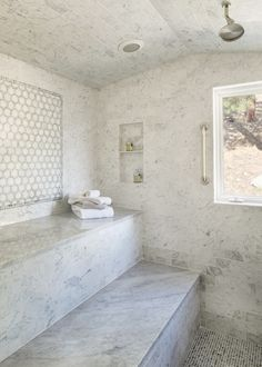 "Tip Spend more time in the sauna. ""Each day, after the gym, I spend 10 minutes in the sauna or steam room. It's the only real skincare routine I have. It makes my skin soft and hydrated, so I don't have to use any product throughout the week. Shower Bench, Bathroom Decor Themes, Marble Steam Shower, Steam Room Shower, Bathroom, Bathroom Shower, Bathrooms Remodel, Bathroom Design, Rustic House"