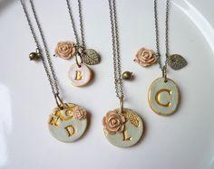 Bridesmaid necklace - Vintage Garden Chic set. $116.00, via Etsy.