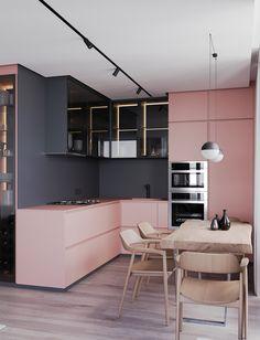 Modern Kitchen Interior Die grys en pienk werk baie mooi saam vir 'n moderne kombuis Home Decor Kitchen, Rustic Kitchen, Kitchen Furniture, Kitchen Modern, Kitchen Lamps, Kitchen Industrial, Kitchen Ideas, Scandinavian Kitchen, Furniture Design