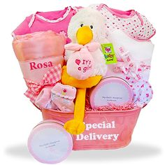 Welcome the new baby girl with this Special Delivery basket filled with special baby gifts just for her. Visit us today to see all baby girl gift baskets. Baby Girl Gift Baskets, Baby Shower Gift Basket, Baby Shower Gifts, Newborn Baby Gifts, Baby Girl Gifts, New Baby Girls, Cute Gifts, New Baby Products, Special Delivery