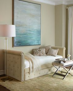 By placing two daybeds like these fabulous ones from Pottery Barn adjacent to each other in the corner of a room, you have enough space for two guests not to mention plenty of seating and storage. Description from decoratingfiles.com. I searched for this on bing.com/images