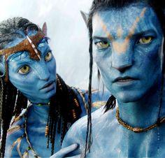 """Sam Worthington y Zoe Saldana en """"Avatar"""", 2009"""