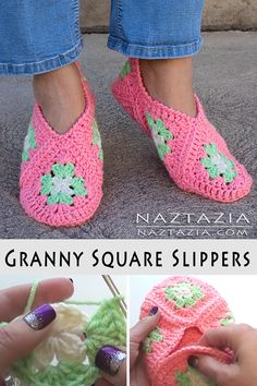 How to Crochet Granny Square Slippers - Naztazia ® Oma Square Hausschuhe - Naztazia ® Granny Square Slippers, Granny Square Häkelanleitung, Granny Square Projects, Granny Square Crochet Pattern, Crochet Squares, Crochet Granny, Crochet Blanket Patterns, Crochet Stitches, Granny Squares