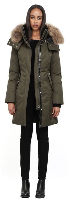 Mackage - KERRY LONG ARMY FITTED WINTER DOWN PARKA FOR WOMEN WITH FUR HOOD