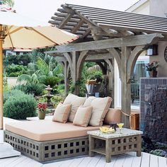 Outdoor furniture, lattice covered structure fora daybed or double size chaise, and side table, stained the same as the arbor. Easy to do make them, more work for the fabulous arbor. Beautiful outdoor room, at BHG