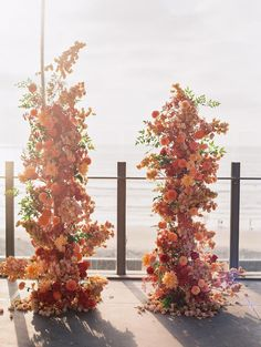 Seaside Cafe, Large Floral Arrangements, California Sunset, La Jolla, Vaulting, Brighten Your Day, Shades Of Red, Color Pop, Backdrops