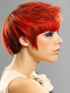 Fiery-Pixie-Cut-with-Awesome-Orange-and-Red-Combination Hair Color for Short Hair 2019 Messy Bob Hairstyles, Short Hairstyles For Women, Hairstyles With Bangs, Pretty Hairstyles, Hairstyle Short, Teen Hairstyles, Celebrity Hairstyles, Funky Hair Colors, Pretty Hair Color