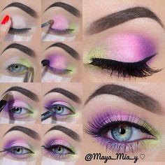 ✝☮✿ ★ MAQUILLAGE ✝☯ ★ ☮ Bright Eye Makeup, Purple Eye Makeup, Colorful Eye Makeup, Smokey Eye Makeup, Rainbow Makeup, Maya Mia, Eye Makeup Steps, Natural Eye Makeup, Perfect Makeup
