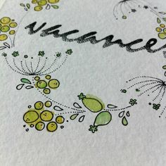 détail - vacances en fleurs - carte postale handmade - aquarelle et micron dots