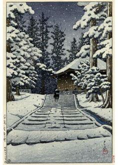 『平泉金色堂』川瀬巴水 - Konjikido in Snow, Hiraizumi by Hasui Kawase 大田区立郷土博物館の川瀬巴水展で最初に展示されていた、彼の絶筆