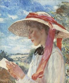 A Girl Reading, probably Florence Carter Wood (later Mrs Alfred Munnings)