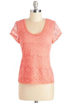 Can-do Chic Top. Youre up and ready to tackle that long list of errands in this coral top! #coral #modcloth