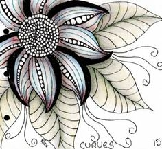 Flower - by Kimi Colored Zentangle Art Doodle Art, Tangle Doodle, Tangle Art, Zen Doodle, Zentangle Drawings, Doodles Zentangles, Doodle Drawings, Flower Drawings, Doodle Patterns