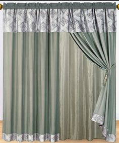 """Thomasville Gray Curtains 2 x Panels 60x84""""ea. with Valance - With Love Home Decor"""