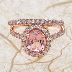 14k Rose Gold 9x7mm Oval Morganite Engagement Ring and Half Diamond Eternity Wedding Band