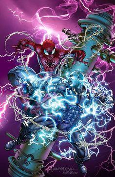 Spider-Man vs. Electro by Harvey Tolibao, colours by Ivan Nunes *