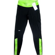 """NWT Under Armour Black Athletic Pants Tights Brand new with tags Under Armour cold gear athletic pants. Fitted. Black with bright green details. Polyester/Elastane. Size Medium. They have a 29"""" inseam. They are brand new with tags and retail for $59.99. Price is firm. Under Armour Pants"""