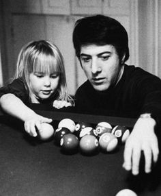 Dustin Hoffman playing pool with his daughter
