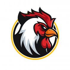Discover thousands of Premium vectors available in AI and EPS formats Rooster Vector, Rooster Logo, Rooster Art, Chicken Logo, Chicken Art, Fried Chicken, Mascot Design, Logo Design, Sports Brand Logos
