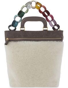 ANYA HINDMARCH. Orsett paperchain nubuck and shearling shoulder bag