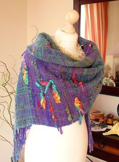 Handwoven Shawl Handwoven scarf Handspun handwoven Long scarf Wool alpaca linen silk Handwoven wool scarf made violet green handspun yarn  FREE SHIPPING WORLDWIDE! READY TO SHIP.  This very soft,fluffy and cozy scarf/ shawl / wrap is hand woven from handspun yarn in violet and emerald green main colors with the different color accents.I also used a silk ribbon to create the convex pattern. The yarn for this wrap is spun from hand carded batts. To the soft shiny wool and alpaka fiber...