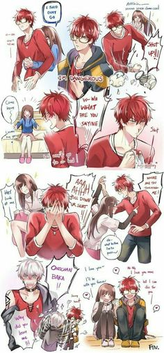 707, MC, Unknown, funny, text, collage, couple, blushing, bloody nose, nosebleed; Mystic Messenger Mystic Messenger Comic, Mystic Messenger 707 Route, Mystic Messenger Unknown, Luciel Choi, Anime Couples, Jumin Han, Romance, Honesty, Saeran
