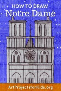 How to Draw Notre Dame · Art Projects for Kids. Complete tutorial with grid paper. Easy Art Projects, Drawing Projects, Drawing For Kids, Art For Kids, Drawing Stuff, Sketch Drawing, Drawing Art, Kanban Crafts, Middle School Art Projects