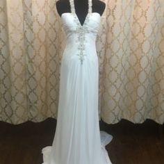 Beachy Chiffon A Line Wedding Dress • Ava's Bridal Couture Affordable Bridal, Bridal Salon, Bridesmaid Dresses, Wedding Dresses, Ava, One Shoulder Wedding Dress, Short Dresses, Chiffon, One Piece