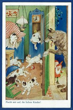Fritz Baumgarten, The Wolf and the Seven Little Kids, art publisher Oppel & Hess, Jena, Source by kl Art And Illustration, Book Illustrations, Wolf, Baumgarten, Fairy Tales For Kids, Fable, Old Paper, Nursery Rhymes, Mythology