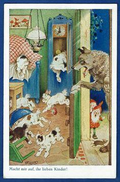 Fritz Baumgarten,Der Wolf und die sieben Geißlein,Kunstverlag Oppel & Hess,Jena,