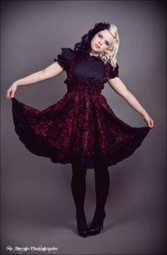 Gothic Lolita Dress - Red and Black Velvet Flocked Jumper -PLUS Custom to your size 3x-5x. $145.00, via Etsy.