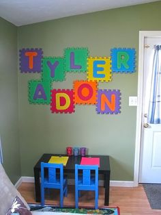 Alphabet foam puzzle letters as wall art. #playroom #DIY #fun #kids....This is a great idea to use those crappy things!!! And get them up off the floor!!!