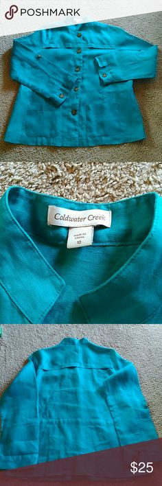 Coldwater Creek Turquoise Linen Jacket Size 10 Linen jacket by Coldwater Creek in excellent used condition. Coldwater Creek Jackets & Coats Blazers