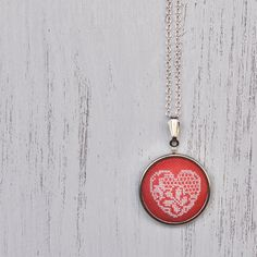 Coral Lace Necklace Pink Heart Embroidered Pendant Bridal Wedding Boho Statement Necklace Autumn Jewelry