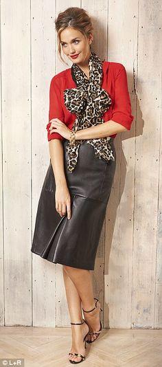 Blouse, £30, next.co.uk, Leather skirt, £65, topshop.com; Scarf, £9.50, marksandspencer.com; Sandals, £280, CH Carolina Herrera, 020 7581 30...